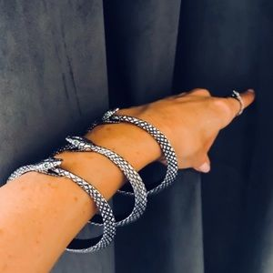 Ouroboros Handcrafted Pewter Swarovski Snake Cuff